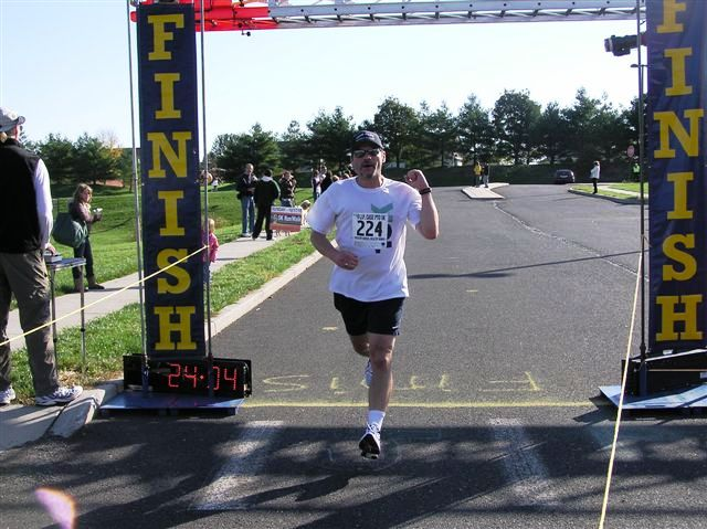 Mike finishing the J.P. Case 5K on October 17, 2010.